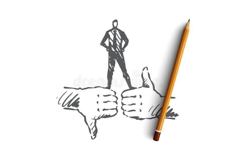 De evaluatie, klant, koppelt, kwaliteitsconcept terug Hand getrokken geïsoleerde vector stock illustratie