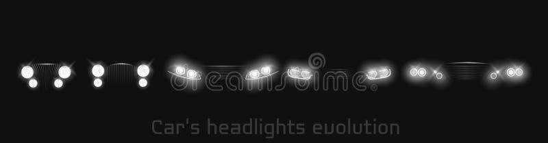 De evolutie van autokoplampen, gloeiende voorkoplampen royalty-vrije illustratie