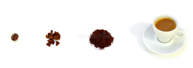 De Evolutie van de koffie royalty-vrije stock afbeeldingen