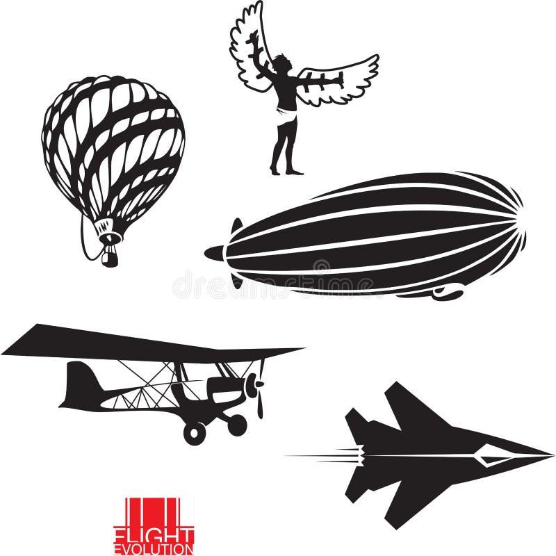 De evolutie van de vlucht stock illustratie