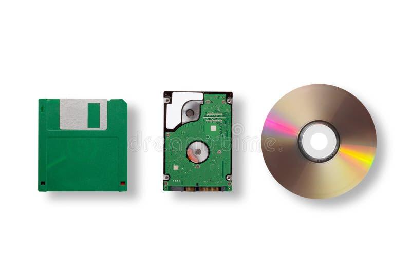 De evolutie van het gegevensopslagmedium - diskette, CD Schijf, klein die hardeschijfstation op witte achtergrond wordt geïsoleer stock foto's