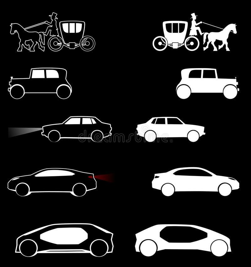 De Evolutie van de sedanauto, in de twee eeuwen stock foto's