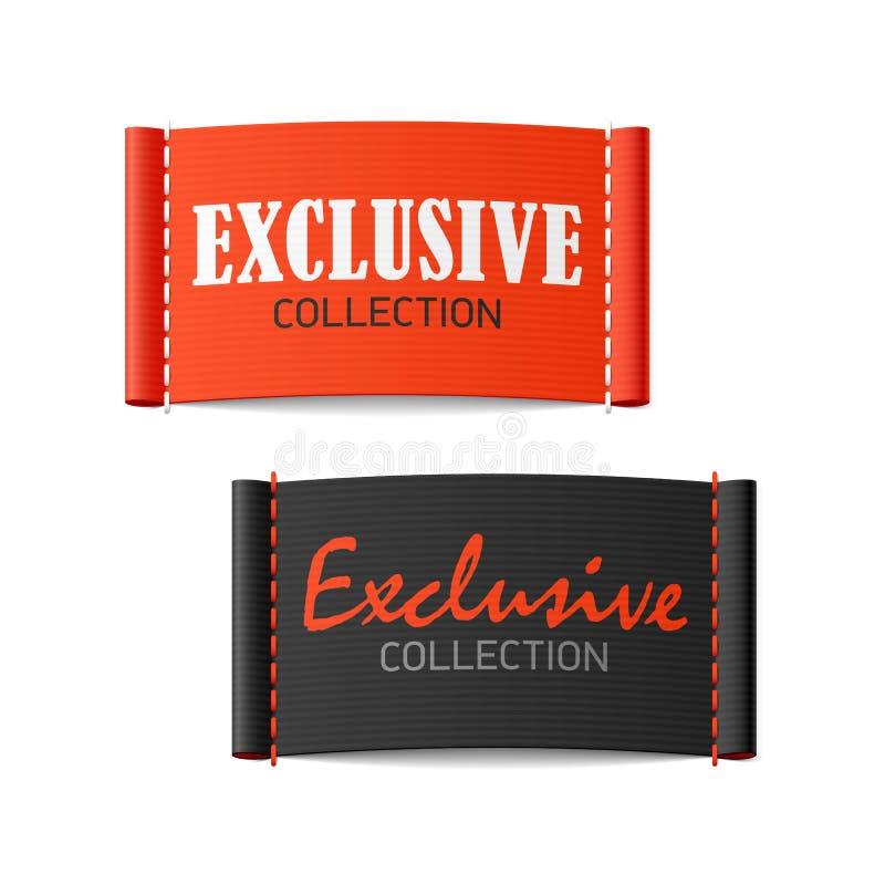 De exclusieve etiketten van de inzamelingskleding stock illustratie