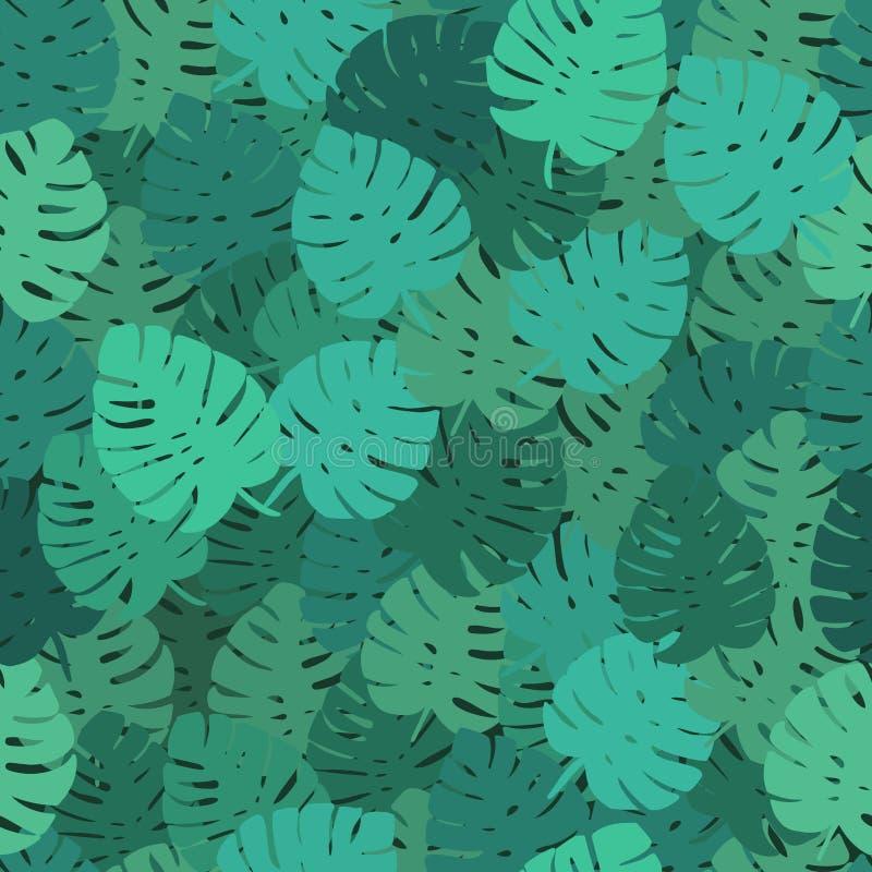 De exotische bladeren, Naadloos regenwoud, hand trekken patroon Het kan voor prestaties van het ontwerpwerk noodzakelijk zijn stock illustratie