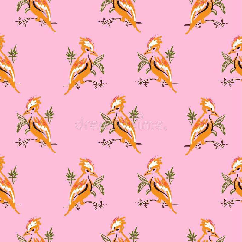 De exotische oranje roze achtergrond van het vogels naadloze vectorpatroon royalty-vrije illustratie
