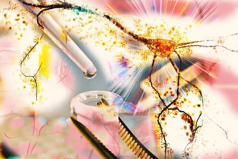 De exploderende degenererende neuronen van het onderzoekhersenen van het het neuronen zenuwstelsel van het neuronenonderzoek vector illustratie