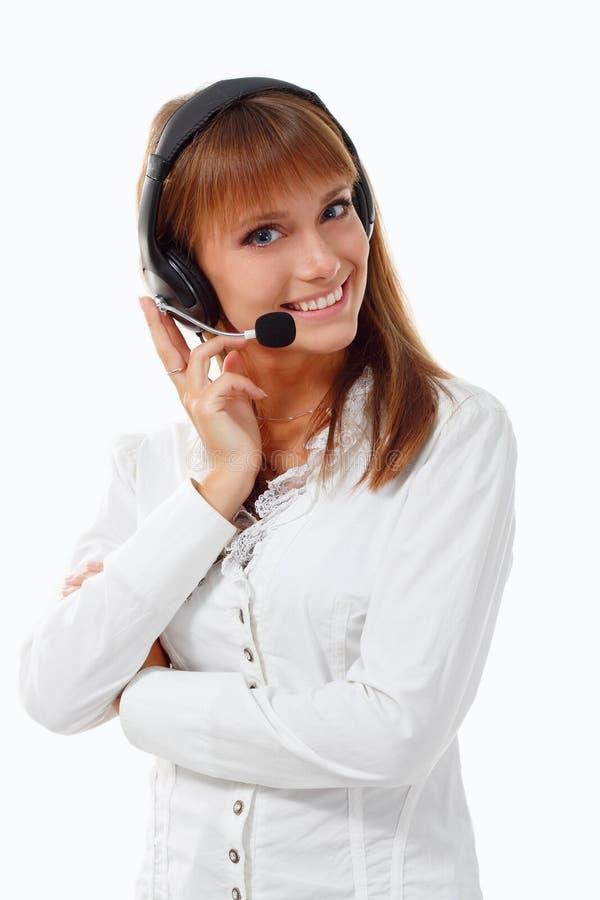 De exploitant van de steuntelefoon in hoofdtelefoon stock foto's