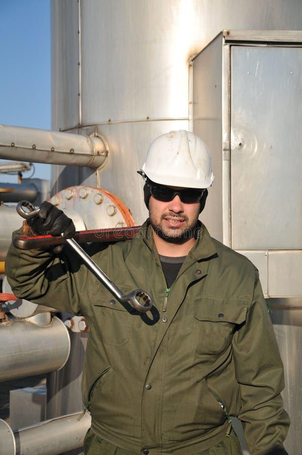 De exploitant van het gas stock afbeeldingen