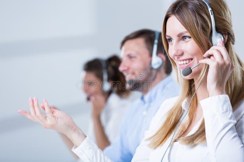 De exploitanten van de steuntelefoon stock fotografie