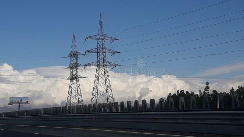 De exploratie mooie mening van wegwolken stock afbeelding