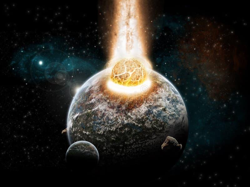 De exploratie van het heelal - aardeeind van tijd royalty-vrije illustratie