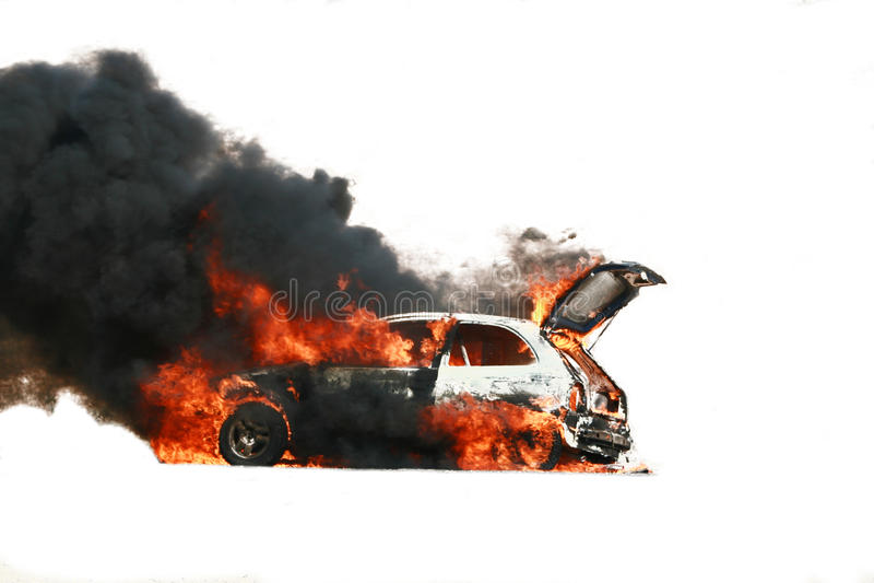 De explosie van de auto stock foto's