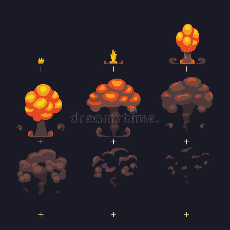 De explosie van de beeldverhaalatoombom, gemalen explosie met rook en het effect van de stof grappige animatie kaders royalty-vrije illustratie