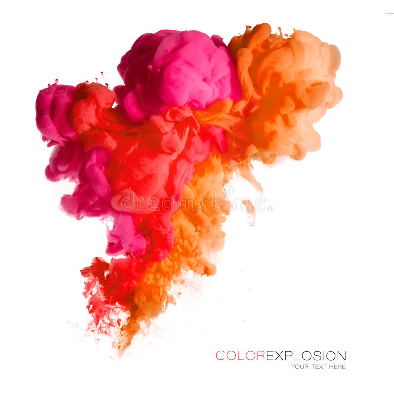 De explosie van de kleur Kleurrijke Acrylinkt in Water stock afbeelding
