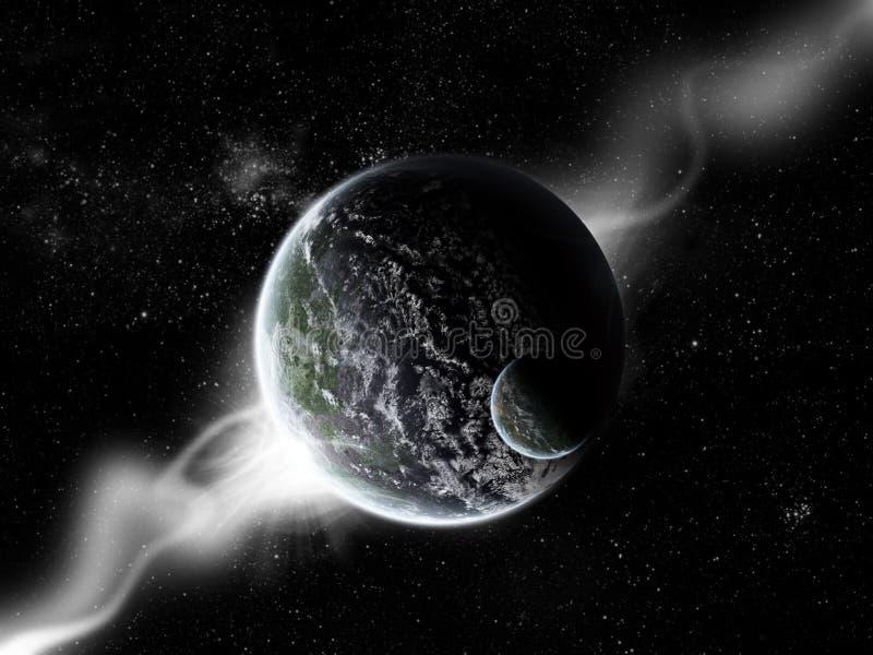 De explosie van de planeet - de exploratie van het Heelal stock illustratie