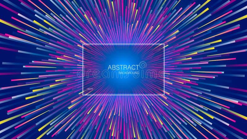 De explosie van dynamische lijnen of stralen Abstracte geometrische achtergrond met centric motie royalty-vrije illustratie