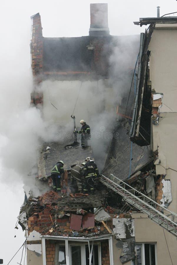 De explosie van het gas stock foto