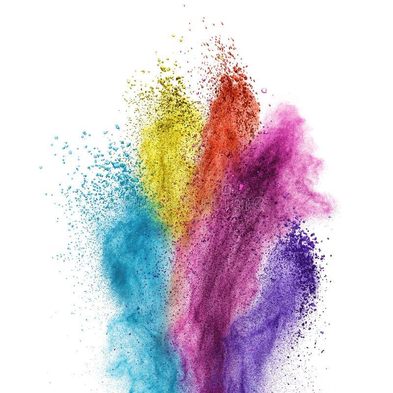 De explosie van het kleurenpoeder die op wit wordt geïsoleerd stock afbeelding