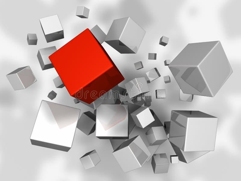 De Explosie van kubussen royalty-vrije illustratie