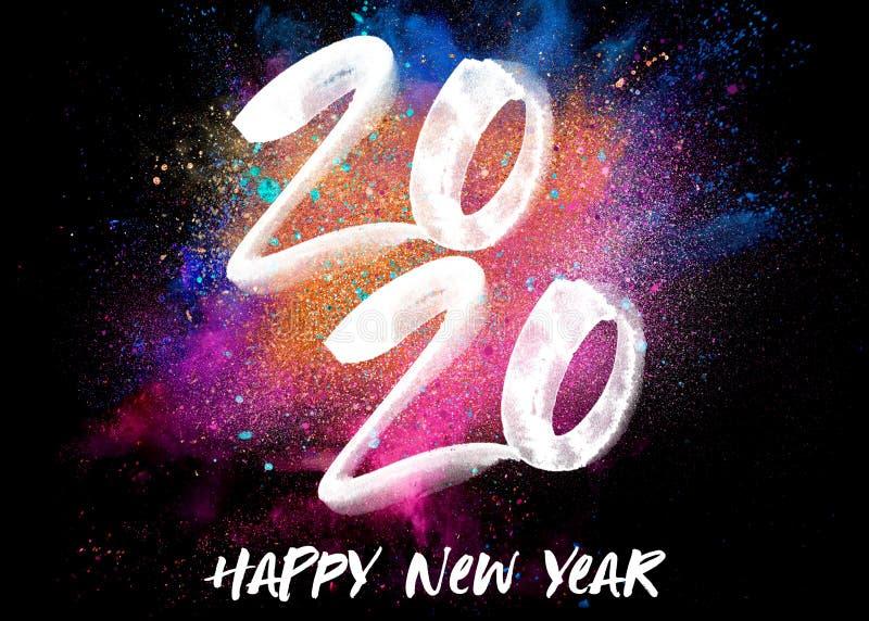 2020 de Explosie van de Nieuwjaarkleur stock illustratie