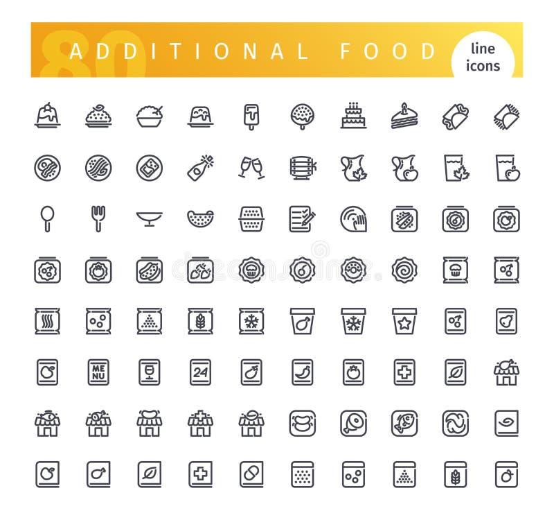 De extra Geplaatste Pictogrammen van de Voedsellijn royalty-vrije illustratie