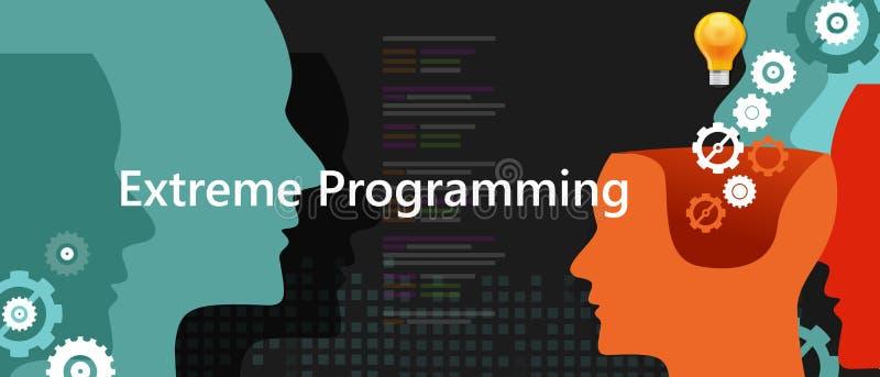 De extreme programmerings xp behendige software methodologie van de programmeringsontwikkeling vector illustratie