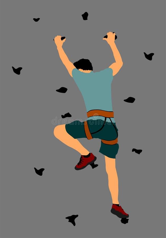De extreme sportman beklimt zonder roop Mens die vectordieillustratie beklimmen, op achtergrond wordt geïsoleerd De actie van het stock illustratie