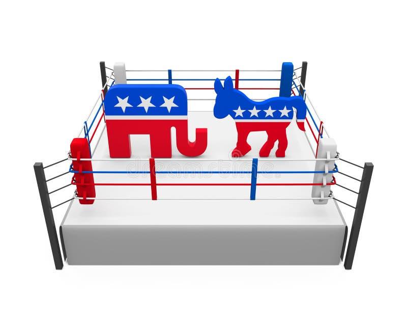 De Ezel van de democraat en Republikeinse Olifant royalty-vrije illustratie