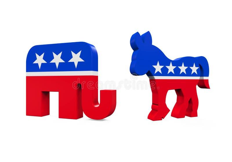 De Ezel van de democraat en Republikeinse Olifant stock illustratie