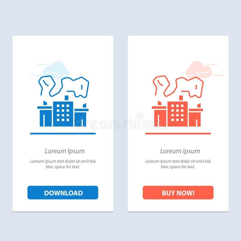 De fabriek, de Industrie, de Kern, Machts Blauwe en Rode Download en kopen nu de Kaartmalplaatje van Webwidget vector illustratie