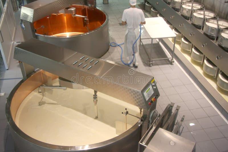De fabriek van de kaas stock afbeelding