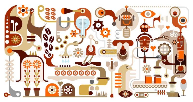 De Fabriek van de koffie - abstracte vectorillustratie royalty-vrije illustratie