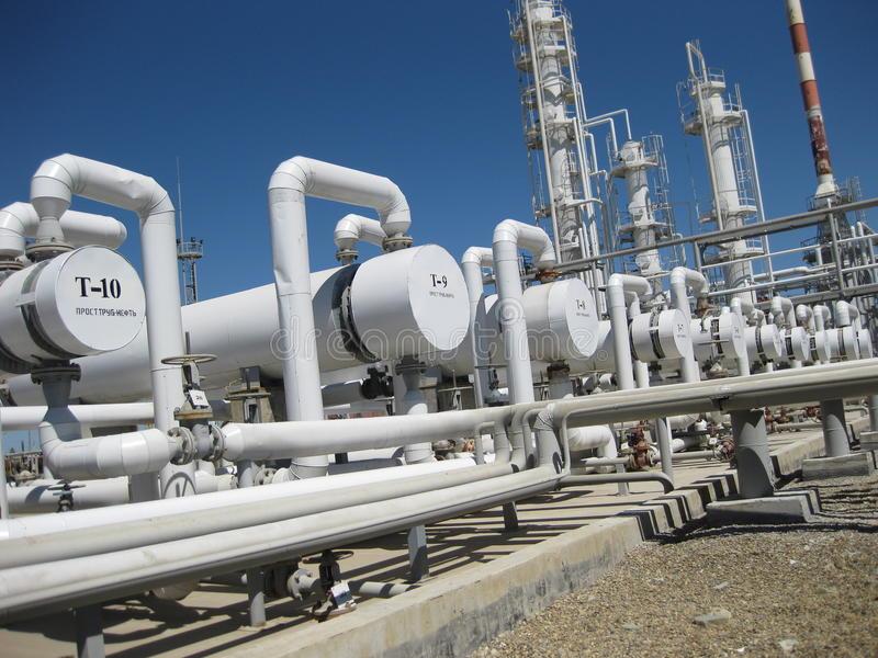 De fabriek van het chemische product en van de olie stock afbeeldingen