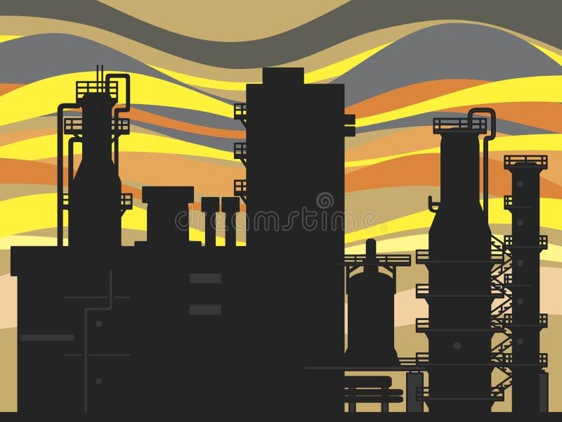 De fabriek van het chemische product en van de olie royalty-vrije illustratie