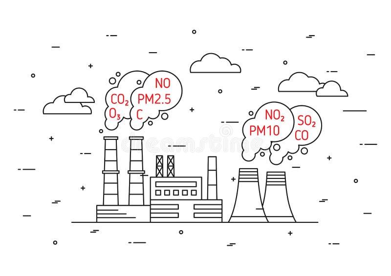 De fabriek verontreinigt atmosfeer vectorillustratie royalty-vrije illustratie