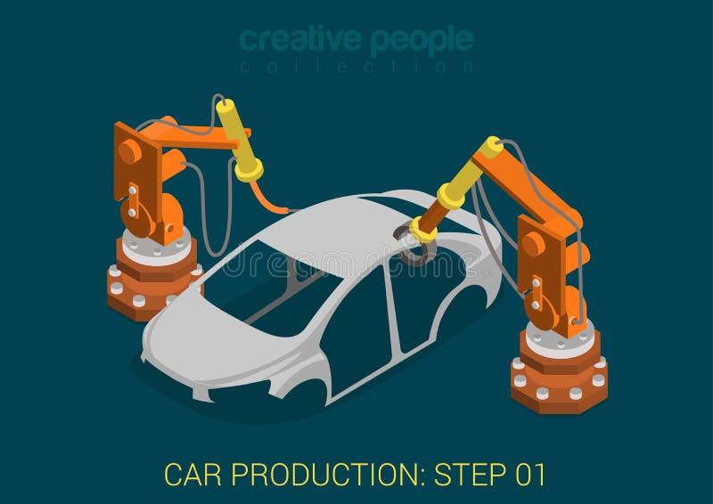 De fabrieks vector vlakke isometrisch van de autoproductie stock illustratie
