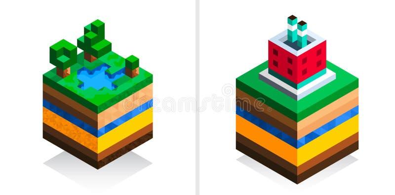 De fabrieksbouw in isometrische stijl De structuur van de aarde Beeldverhaalregeling Geïsoleerdj op witte achtergrond geology royalty-vrije illustratie