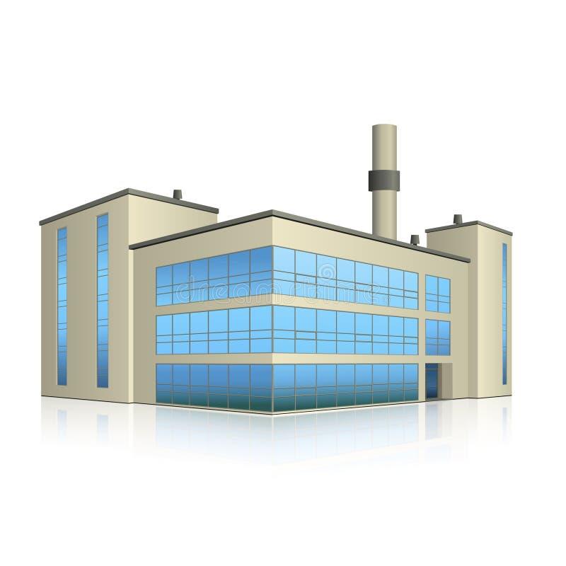 De fabrieksbouw met bureaus en productiefaciliteiten vector illustratie