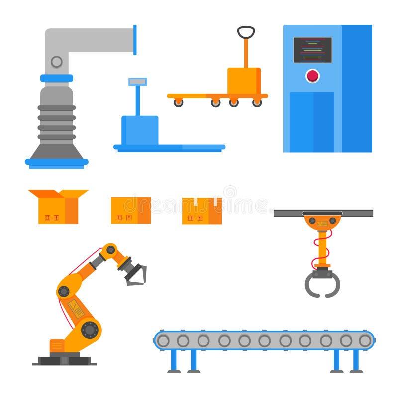 De fabriekselementen plaatsen vlak stijlontwerp met kartondozen, ventilatie, transportband stock illustratie