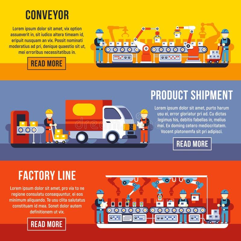 De fabriekslijn van de automatiseringstransportband met de robotachtige vectorreeks van handen horizontale banners royalty-vrije illustratie