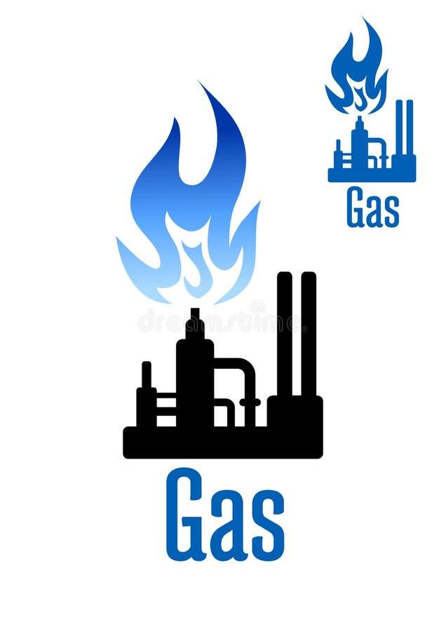 De fabriekspictogram van de gasverwerking met blauwe vlam vector illustratie
