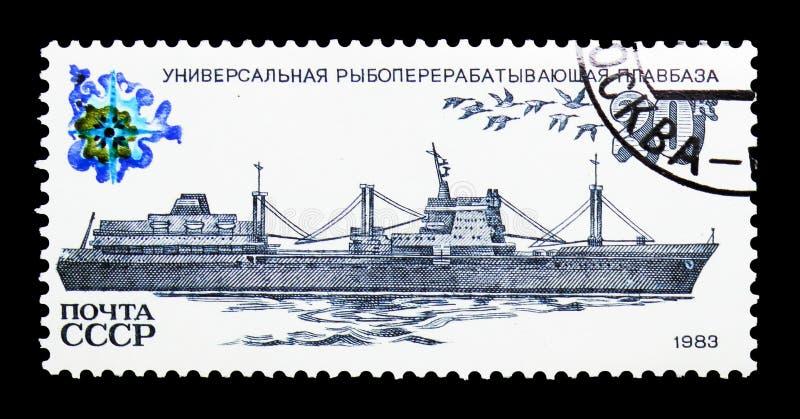 De Fabrieksschip van de vissenverwerking, Vissersvaartuigen serie, circa 1983 royalty-vrije stock fotografie
