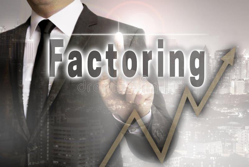 De factoring wordt getoond door zakenmanconcept stock foto
