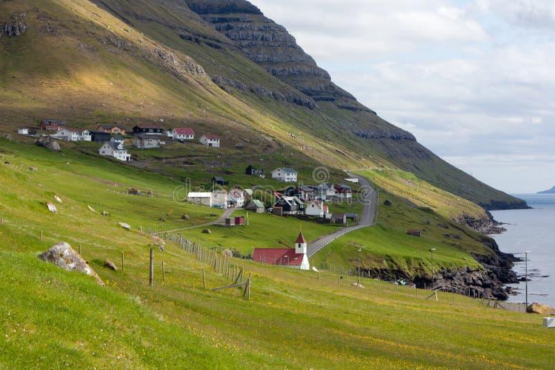 De Faeröer, dorp van Vidoy royalty-vrije stock afbeeldingen