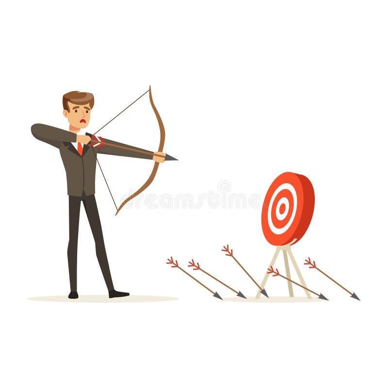 De Faiiledzakenman met boog en pijl streeft naar doel, niet succesvolle karakter vectorillustratie royalty-vrije illustratie