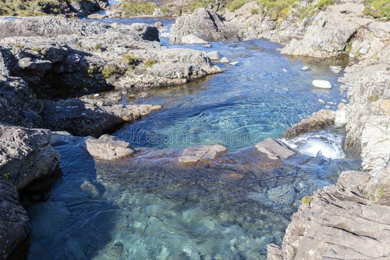 De Fairy Pools op het eiland Skye in Schotland stock foto's