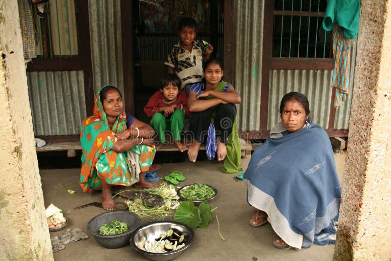 De familie bereidt voedsel voor stock afbeeldingen