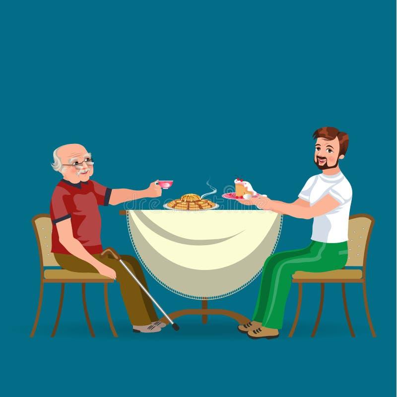 De familie die diner eten thuis, gelukkige mensen eet voedsel samen, behandelen de zoon en de papa grootvaderzitting door eettafe stock illustratie