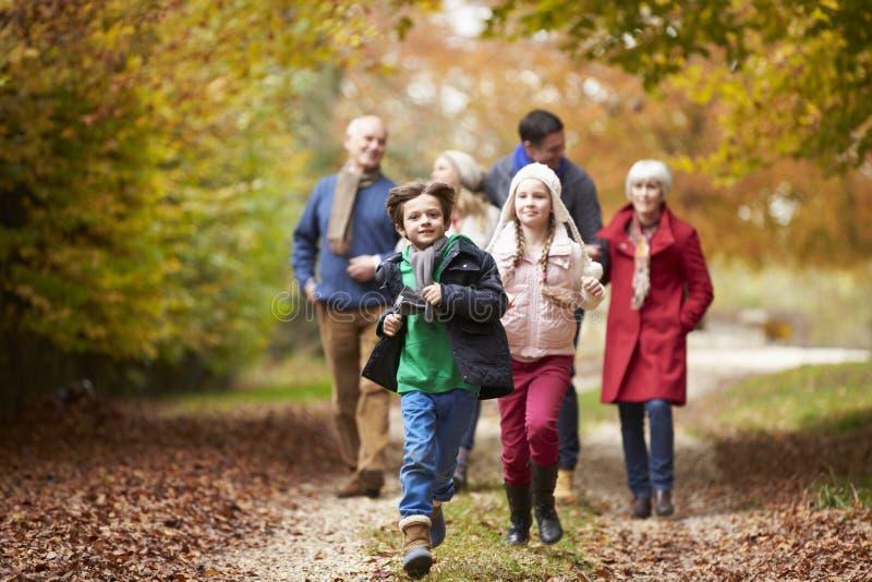 De Familie die van de Multlgeneratie langs Autumn Path lopen stock afbeelding