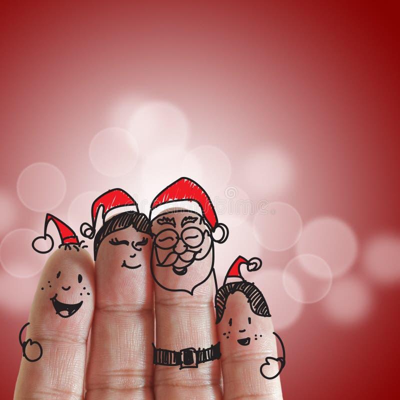 De Familie en Kerstmis van vingers stock fotografie